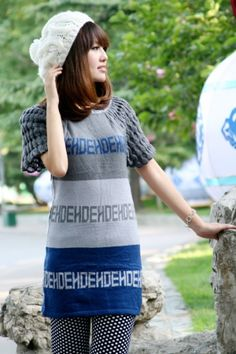 Women's Knitted Letters Pattern Sweater on BuyTrends.com, only price $6.25