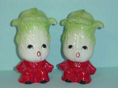 Anthropomorphic Celery Guys Salt & Pepper Shakers