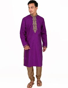 Silk purple #kurtasuit for every occasion or festival and look smartly handsome. Product code - G3-MKS0811