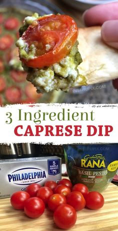 This quick and easy party dip is THE BOMB And it only requires 3 simple ingredients cream cheese basil pesto and tomatoes Double the recipe to feed a crowd Warm and Chee. Appetizers For A Crowd, Finger Food Appetizers, Yummy Appetizers, Appetizer Recipes, Recipes Dinner, Crackers Appetizers, Cheese Appetizers, Easy Appetizer Dips, Easy Appitizer