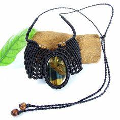 Macrame Necklace Pendant Cabochon Tiger Eye Stone Cotton Waxed Cord Handmade #Handmade #Wrap