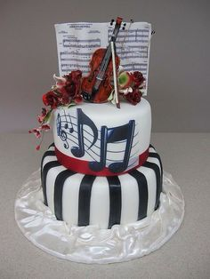 Violin Cake for Mr. Music Themed Cakes, Music Cakes, Beautiful Cakes, Amazing Cakes, Fondant Cakes, Cupcake Cakes, Violin Cake, Bolo Musical, Piano Cakes