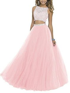 BessDress Two Piece Sequined Bodice Prom Dresses 2017 Long Beaded Ball Gowns * For more information, visit image link. Prom Dresses Two Piece, Cute Prom Dresses, Prom Dresses 2018, Ball Gowns Prom, Tulle Prom Dress, Dance Dresses, Ball Dresses, Pretty Dresses, Party Dress