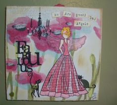 """""""We are Every day Angels"""". By Tami. Mixed Media Collage Canvas Art. 10"""" x 10"""" canvas. Using canvas paper, Julie Nutting Doll Stamp, Copic Pens and other stamps, paper and embellishments."""