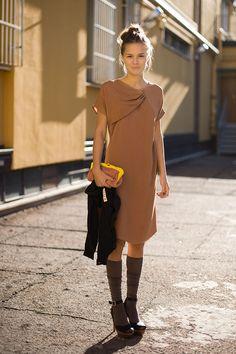 love the drapey dress with the knee socks