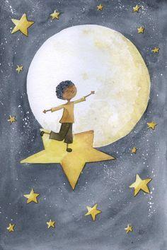 Dans les étoiles | © Anne-Laure Charlery | Grain de vent | Illustration à l'aquarelle | graindevent.com