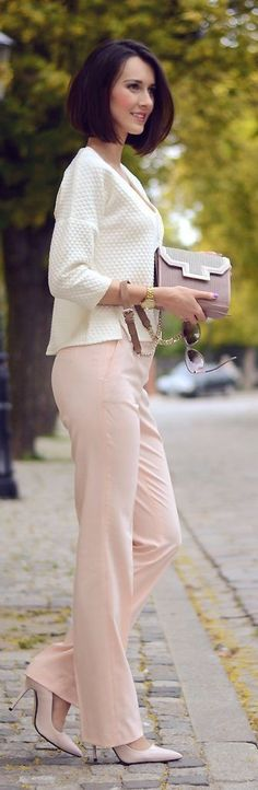 #summer #fashion #outfitideas |  White Top + Blush Pants