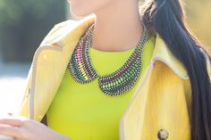 Wendy looking gorgeous in yellow tweed and our Jeweled Collar Necklace