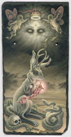 Soft colored, pop-surrealistic paintings by Heather Watts - Bleaq - All About Art Tattoo Studio Rangiora. 03 310 6669 or 022 125 7761 - Tattoo Studio, Art And Illustration, Portrait Illustration, Art Illustrations, Fashion Illustrations, Fantasy Kunst, Fantasy Art, Rabbit Art, Bunny Rabbit