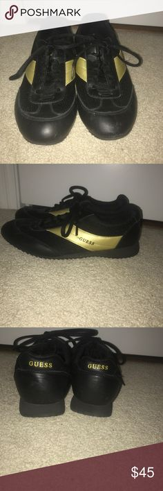 f4c1df2cd9c8e3 GUESS Black and gold sneakers size 7.5 Stunning Guess sneakers worn only a  couple times in