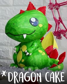 How To Make Dragon cake Cakes To Make, Fancy Cakes, Cute Cakes, Beautiful Cakes, Amazing Cakes, Cake Cookies, Cupcake Cakes, Baby Dekor, Delicious Desserts
