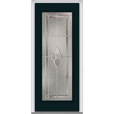 Milliken Millwork 33.5 in. x 81.75 in. Master Nouveau Decorative Glass Full Lite Painted Majestic Steel Exterior Door, Dark Night