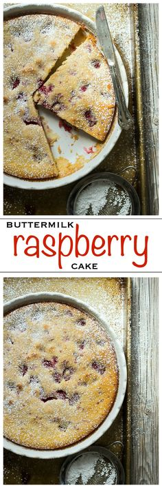 Moist yellow buttermilk cake filled with fresh raspberries | Foodness Gracious