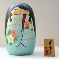 Lovely Creative Kokeshi Doll by Usaburo - MEBAE (SPROUT), Blue - MMH Collectibles Japan