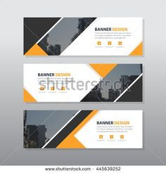 Yellow black triangle abstract corporate business banner template, horizontal…