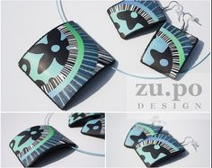 polymer clay jewellery - pendant and earrings by Zuzana Pokorna Polymer Clay Canes, Polymer Clay Necklace, Polymer Clay Pendant, Fimo Clay, Filigranes Design, Clay Tutorials, Selling Jewelry, Creations, Winter Project