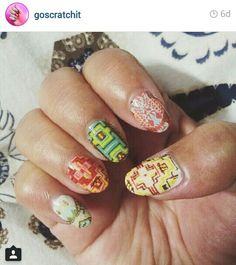"""Nail wraps over color @Scratch (via instagram) *LOVE """"rising sun"""" wrap over turquoise!"""