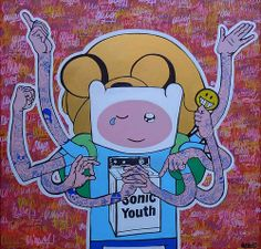 """new artwork by omino71 - """"somniare, vivere, dicere, facere, habere & esse"""" 90x90x4 2013 Roma (new project on canvas based to Adventure Time hero)"""