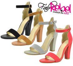 Alina : Ankle Strap Chunky Sandal Heels in Black, Chestnut, Grey and Red #shoe #heels #sandal #stiletto #anklestraps #bold #bright #colors #shoeslover #shoesdiva #shoecrush #fashiondiva #stylish #iloveshoes #perfectpair