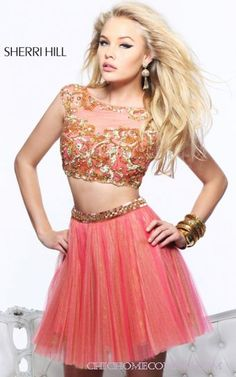 Sherri Hill 21154 Coral Two PieceHomecoming Dress