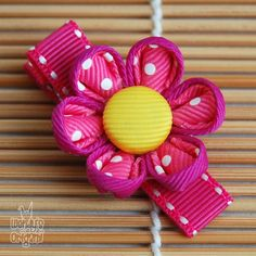 Pink and yellow kanzashi-style hair clip on Etsy, Cloth Flowers, Diy Flowers, Hair Ornaments, Christmas Ornaments, Fabric Flower Pins, Flower Clips, Hair Ribbons, Japanese Hairstyle, Kanzashi Flowers