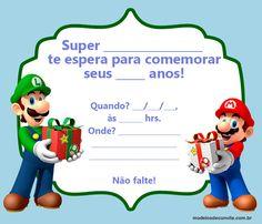 +20 Convites Mario Bros e sua Turma! – Modelos de Convite Super Mario Bros, Bolo Super Mario, Super Mario Birthday, Super Mario Party, Super Mario Brothers, Super Nintendo, Luigi Bros, Mario E Luigi, Yoshi