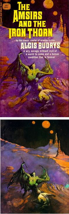 FRANK FRAZETTA - The Amsirs and the Iron Thorn by Algis Budrys - 1967 Fawcett Gold Medal - cover by isfdb - print by 70sscifiart.tumblr.com