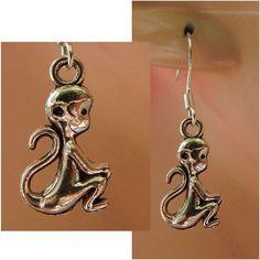 Silver Monkey Charm Drop/Dangle Earrings Handmade Hook Jewelry Alloy #Handmade #DropDangle http://www.ebay.com/itm/161776632094?ssPageName=STRK:MESELX:IT&_trksid=p3984.m1555.l2649