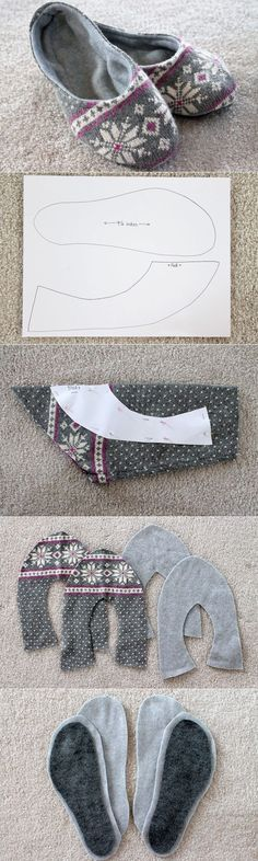 Sewing clothes recycling old sweater 22 Ideas Sewing Art, Sewing Crafts, Sewing Projects, Sewing Patterns, Sewing Slippers, Crochet Slippers, Sewing Clothes, Diy Clothes, Sewing Hacks