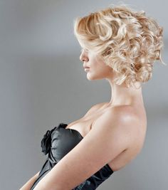 Hair Designer: Randy Schull Make-up: Barak Mizrahi Photography: Stephan Maloman Curly Wedding Hair, Wedding Hair Down, Wedding Hair And Makeup, Bridal Hair, Short Blonde Curly Hair, Shortish Hair, Blonde Curls, Curly Short, Popular Short Hairstyles