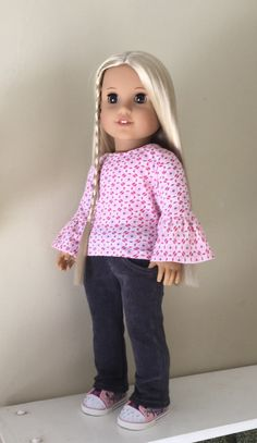 0bc413f37 Clothes to fit Americn Girl dolls  bell-sleeve top and skinny cords
