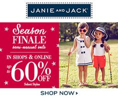 Get up to 60% off Janie and Jack's during the Semi-annual Sale!