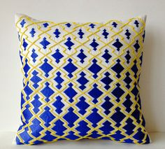 Royal Blue Decorative Pillowcase Thread Beads by AmoreBeaute