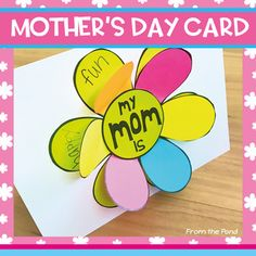 Mother's Day Card - Flip the Flap Flower Card for Mom and Mum Mother's Day is on its way and this card will be perfect for the mom, mum or special one in your little ones lives! Students simply write words to describe their mom on the base template and glue petal pieces around the edge to create a 'flip the flap' card! I have included alternatives for a variety of specific needs: - a spelling for 'mum' (for Australians) - an 'aunt' version - a 'grandma' version ...