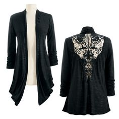 Crochet Back Jacket - New Age, Spiritual Gifts, Yoga, Wicca, Gothic, Reiki, Celtic, Crystal, Tarot at Pyramid Collection