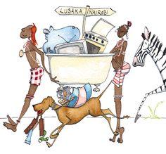 Moving house, Kenya style Hungry Hearts, Dip Pen, Moving House, Kenya, Watercolor, Illustration, Animals, Style, Humor