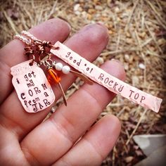 """Unique hand stamped """"I get my corn from a jar"""" rocket top Tennessee necklace  on Etsy, $31.00"""