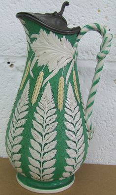 antique fern design pitcher