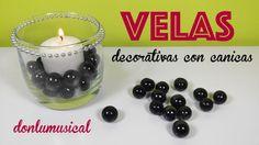 velas decorativas con canicas donlumusical