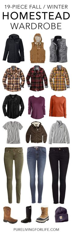 Great fall and winter wardrobe for homesteaders, farm girls or country girls! #homestead #homesteading #wardrobe #camping #outfits