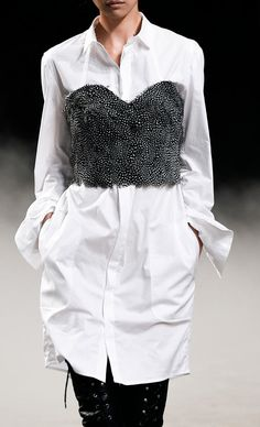 White shirt dress + feather bustier; black & white fashion details // A.F. Vandevorst Spring 2015