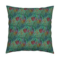 Catalan Throw Pillow featuring ANTIQUE TULIP FIELD DIAGONAL TEAL MINT RED by paysmage | Roostery Home Decor