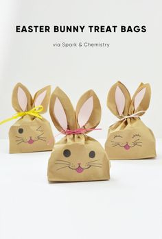 How to Make Easter Bunny Treat Bags | Spark and Chemistry | Easter crafts | favor bags