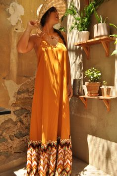 Maxi Bohemian dress with ruffled hem. #boholovin #boho #freespirit #maxidress