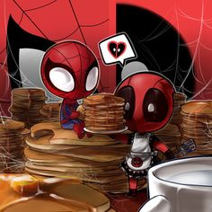 Deadpool loves make a lot of hot cake. and...spidey eating them.(because he is very hungry now!no money and no..lunch..)