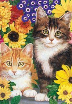 """Cats & Flowers"" Decorative Standard Size Flag 28 Inches X 40 Inches Custom Decor http://www.amazon.com/dp/B002JKAPSG/ref=cm_sw_r_pi_dp_haKYvb1CN84D3"