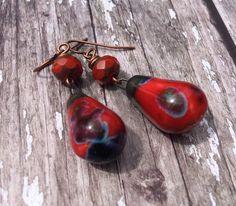 Ladybird Earrings, Red Earrings For Women, Earring Gift For her, Boho Earrings, Red and Black Earrings, Bohemian Jewelry, Gypsy Earrings by Bohojewellerybox on Etsy