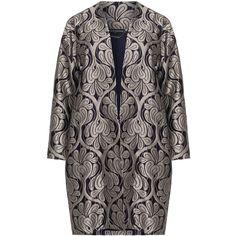 Manon Baptiste Dark-Blue / Silver Plus Size Ornate jacquard coat ($230) ❤ liked on Polyvore featuring outerwear, coats, plus size, long sleeve coat, plus size black coat, floral coat, plus size coats and floral print coat