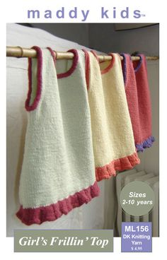 maddy kids Knitting Pattern   ML156 Girl's Frillin' Top - Girl's sweater smock top with frill to knit in DK weight yarn.