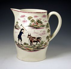 ENGLISH CREAMWARE POTTERY DATED JUG 1787